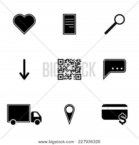 Vector Image Of Icons Of Hot Menu Keys - Favorites, Payment, Delivery, Search. Flat