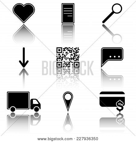 Vector Image Of Icons Of Hot Menu Keys - Favorites, Payment, Delivery, Search With A Mirror Image. F