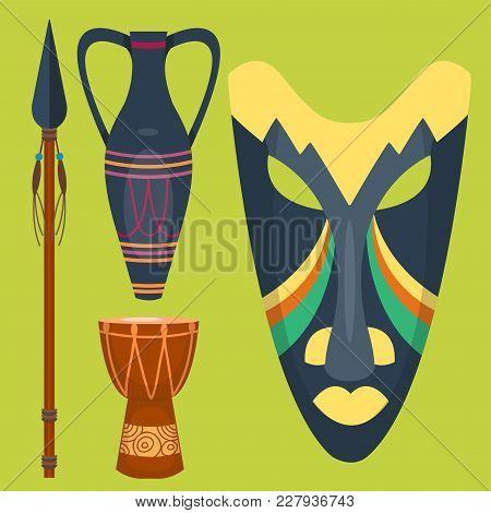 African Vector Mask Djembe Drum And Vase Music Traditional Instrument Ethnic Sound Rhythm Masking Mu
