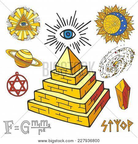 Vector Mystic Magic Esoteric Symbols Piramide Sketch Hand Drawn Religion Philosophy Spirituality Mag