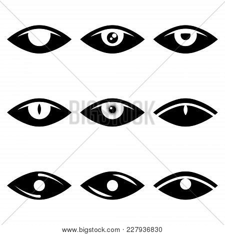 Vector Image Of Abstract Eye Icons In Black And White. Flat