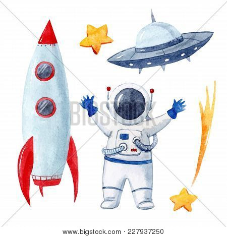 Beautiful Vector Set With Watercolor Space Elements Rocket Space Ship Astronaut Asteroid