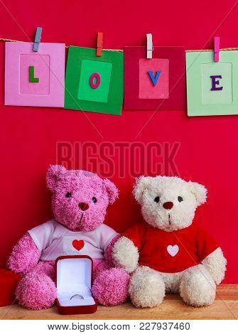 Bear Dolls With Wedding Ring