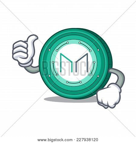 Thumbs Up Maker Coin Character Cartoon Vector Illustration