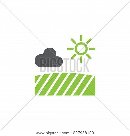Field With Sun Cloud Icon Vector, Filled Flat Sign, Bicolor Pictogram, Green And Gray Colors. Farm F