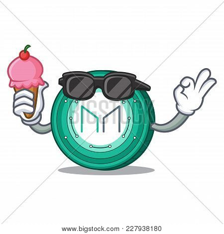 With Ice Cream Maker Coin Character Cartoon Vector Illustration
