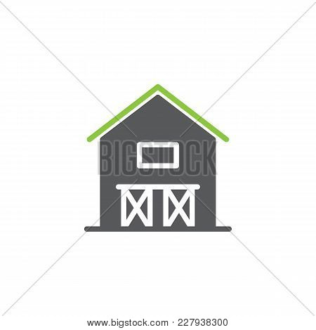 Barn House Icon Vector, Filled Flat Sign, Bicolor Pictogram, Green And Gray Colors. Hangar Symbol, L