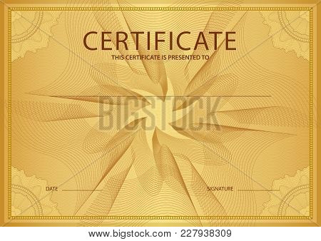 Certificate, Diploma Of Completion (design Template, Background) With Gold Guilloche Pattern (waterm