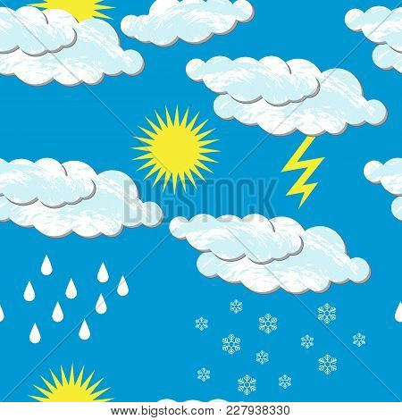 World Meteorological Day. Seamless Pattern. For Day Time. Clouds, Sun, Rain Snow, Lightning. For Ban
