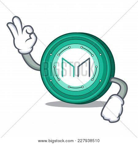 Okay Maker Coin Character Cartoon Vector Illustration