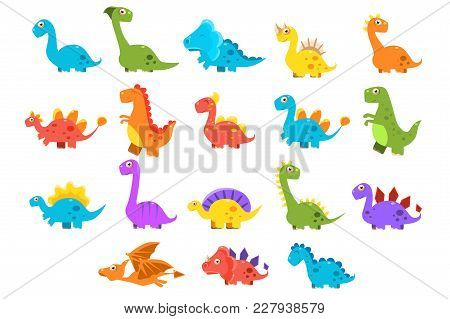 Dinosaurs Set, Variety Species Of Brightly Colored Dino Vector Illustrations Isolated On A White Bac