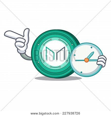 With Clock Maker Coin Character Cartoon Vector Illustration