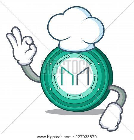 Chef Maker Coin Character Cartoon Vector Illustration