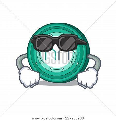 Super Cool Maker Coin Character Cartoon Vector Illustration