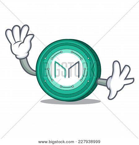Waving Maker Coin Character Cartoon Vector Illustration