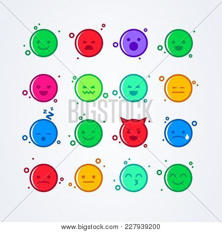 Vector Illustration Abstract Isolated Funny Cute Flat Style Emoji Emoticon Icon Set With Different M