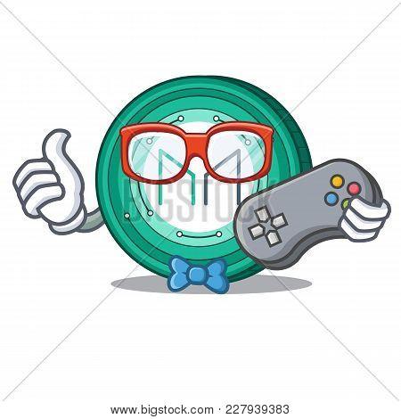 Gamer Maker Coin Mascot Cartoon Vector Illustration