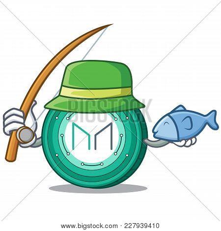Fishing Maker Coin Mascot Cartoon Vector Illustration