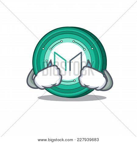 Crying Maker Coin Mascot Cartoon Vector Illustration