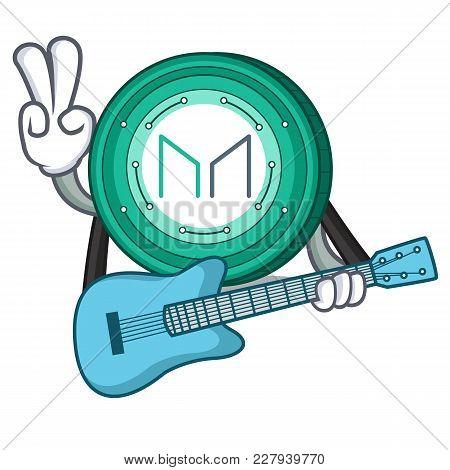 With Guitar Maker Coin Mascot Cartoon Vector Illustration