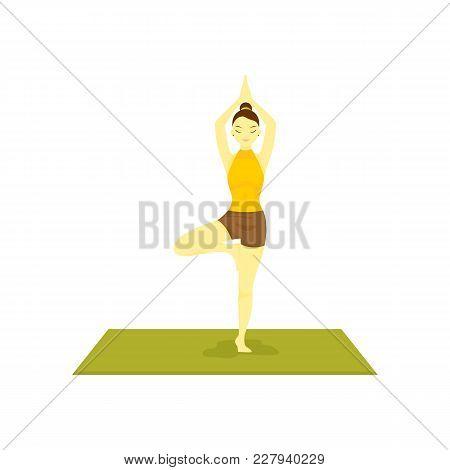 Standing Buddhism Prayer Pose Yoga Meditation Vector Illustration Graphic Design