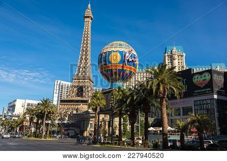 Las Vegas - Jan 03, 2018: Paris Las Vegas Hotel And Casino Sign In The Shape Of The Montgolfier Ball