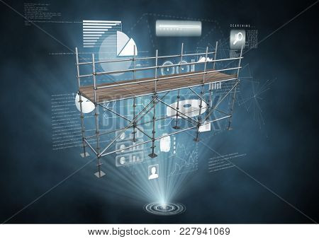 Digital composite of Interface charts with 3D Scaffolding