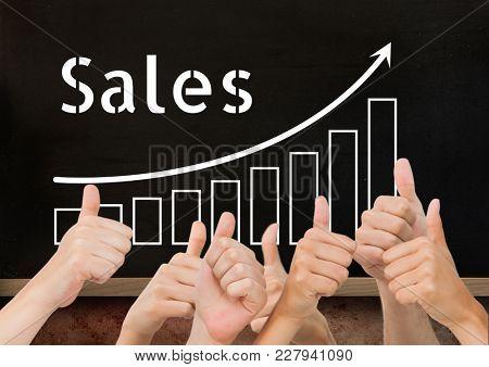 Digital composite of Thumbs up blackboard sales