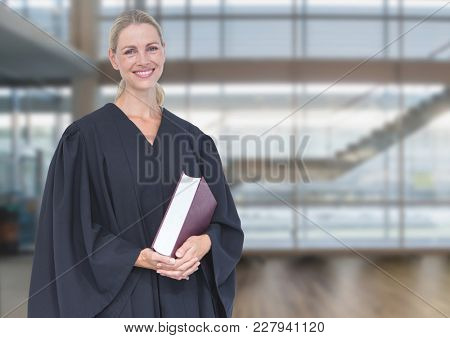 Digital composite of Judge holding book in front of windows