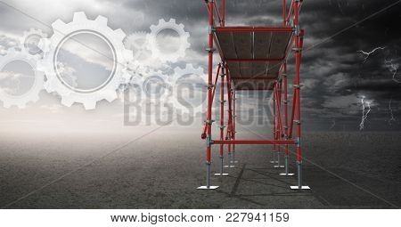 Digital composite of Sky landscape with technology interface and 3D Scaffolding