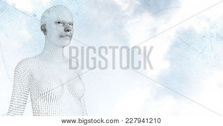 Digital composite of 3D female shaped binary code against sky and clouds