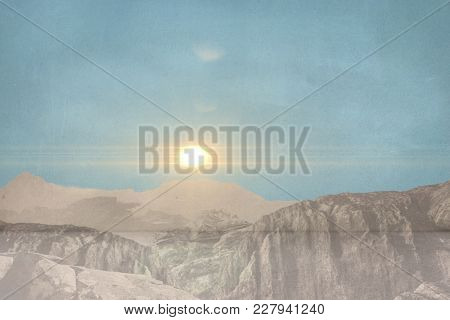 Digital composite of Composite image on mountains and sky
