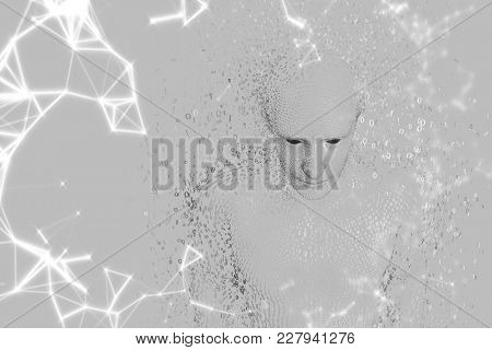 Digital composite of 3D male shaped binary code against grey background and white network