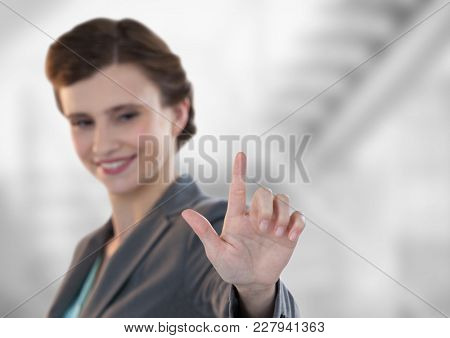 Digital composite of Composite image of smiling businesswoman standing
