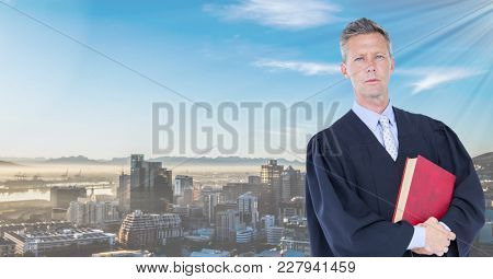 Digital composite of Judge holding book in front of city