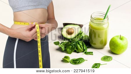 Digital composite of Composite image of woman and healthy food