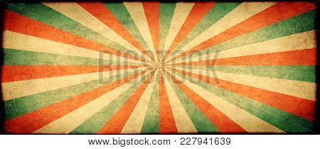 Grunge background with texture of old soiled paper and striped brust pattern. Mock up template for retro and vintage design