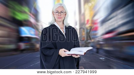 Digital composite of Judge in front of city motion blur