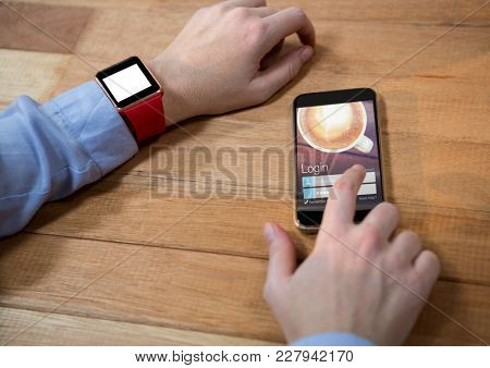 Digital composite of hands with phone, coffee login