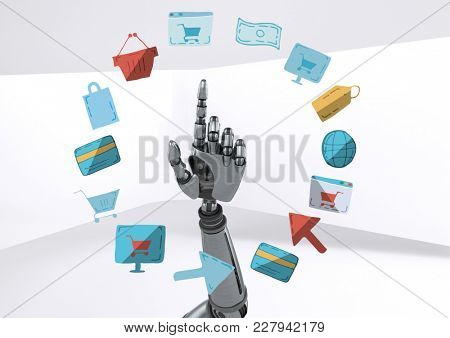 Digital composite of Android hand pointing with online shopping drawings graphics