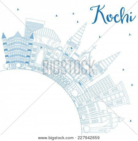 Outline Kochi India City Skyline with Blue Buildings and Copy Space. Business Travel and Tourism Concept with Historic Architecture. Kochi Cityscape with Landmarks.