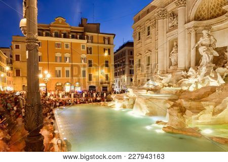 ROME,ITALY - JULY 21,2017 : The Fontana di Trevi in Rome illuminated at night