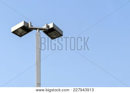 Lamp Post Electricity Industry With Sky Background. Spotlight Tower. Street Lamp. Modern Light Pole.