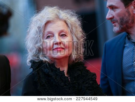 Hanna Schygulla arrives for the 'The Prayer' (La priere) premiere during the 68th  Film Festival Berlin at Berlinale Palast on February 18, 2018 in Berlin, Germany.