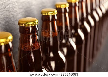 Bottles of fresh beer, closeup