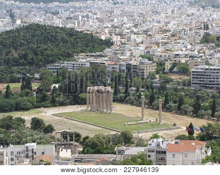 Athens Capital Of Greece.  Heritage Of Mankind Under The Protection Of Unesco. Ancient Greek Civiliz