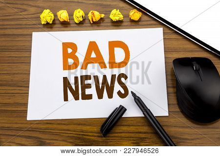 Conceptual Hand Writing Text Showing Bad News. Business Concept For Failure Media Newspaper Written