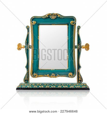 The Desktop Square Mirror Cyan Color Isolated On White Background, Save Clipping Path.