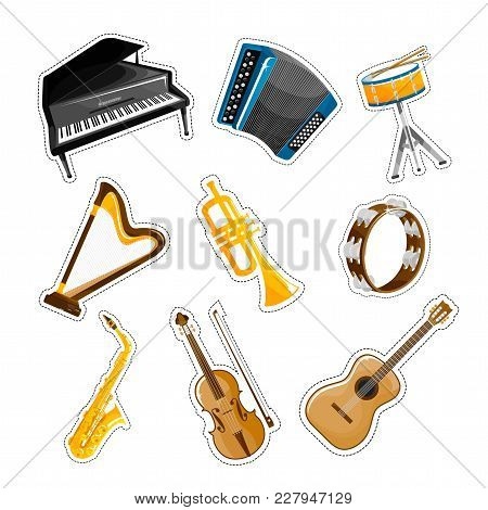 Set Of Popular Musical Instruments, Random Objects On White Background