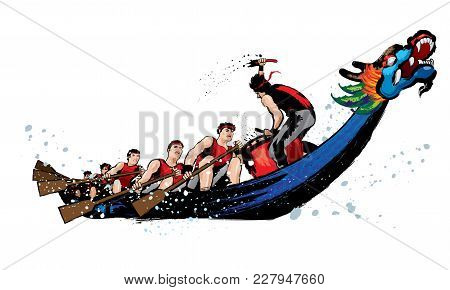Vector Of Dragon Boat Racing During Chinese Dragon Boat Festival. Ink Splash Effect Makes It Looks M